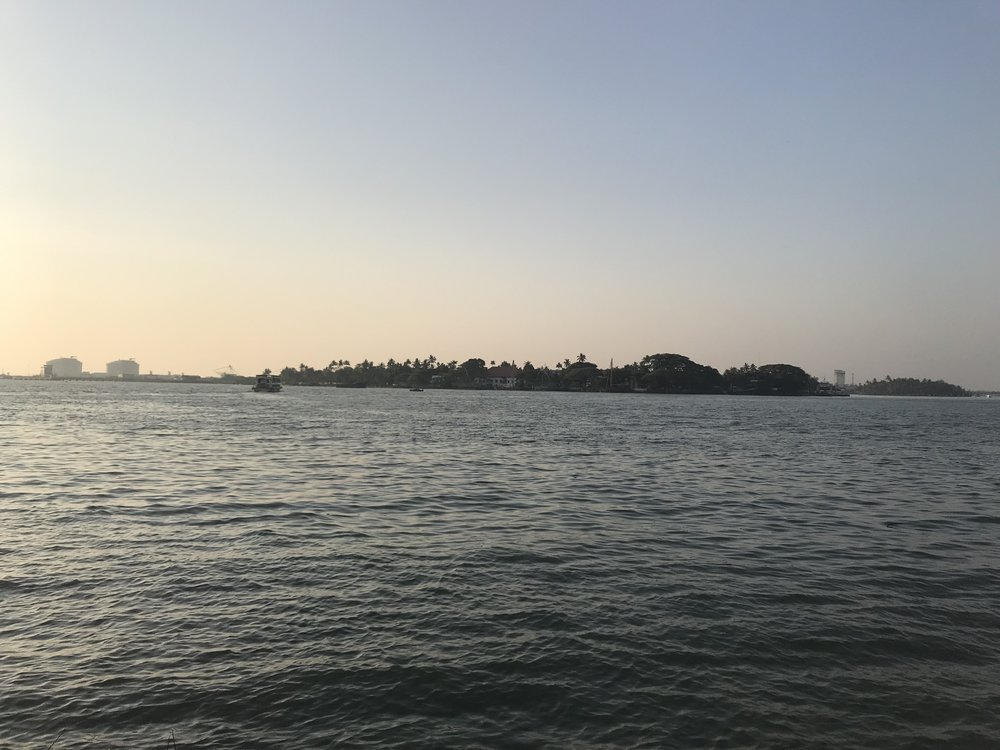 A view of the shore from the Biennale exhibit in Fort Kochi. Our hotel is somewhere over there.