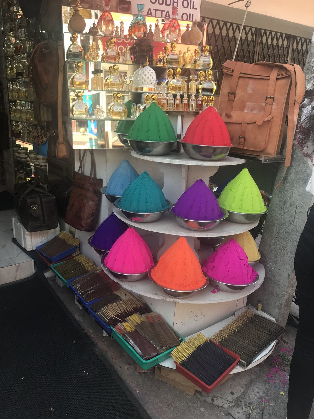 Colorful dye powders on sale at one of the shops in Fort Kochi.