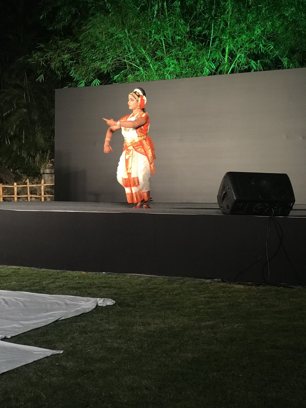 One night, we were enthralled with an outdoor  Kuchipudi  dance performance by Fulbright alumna Lalitha Sindhuri.