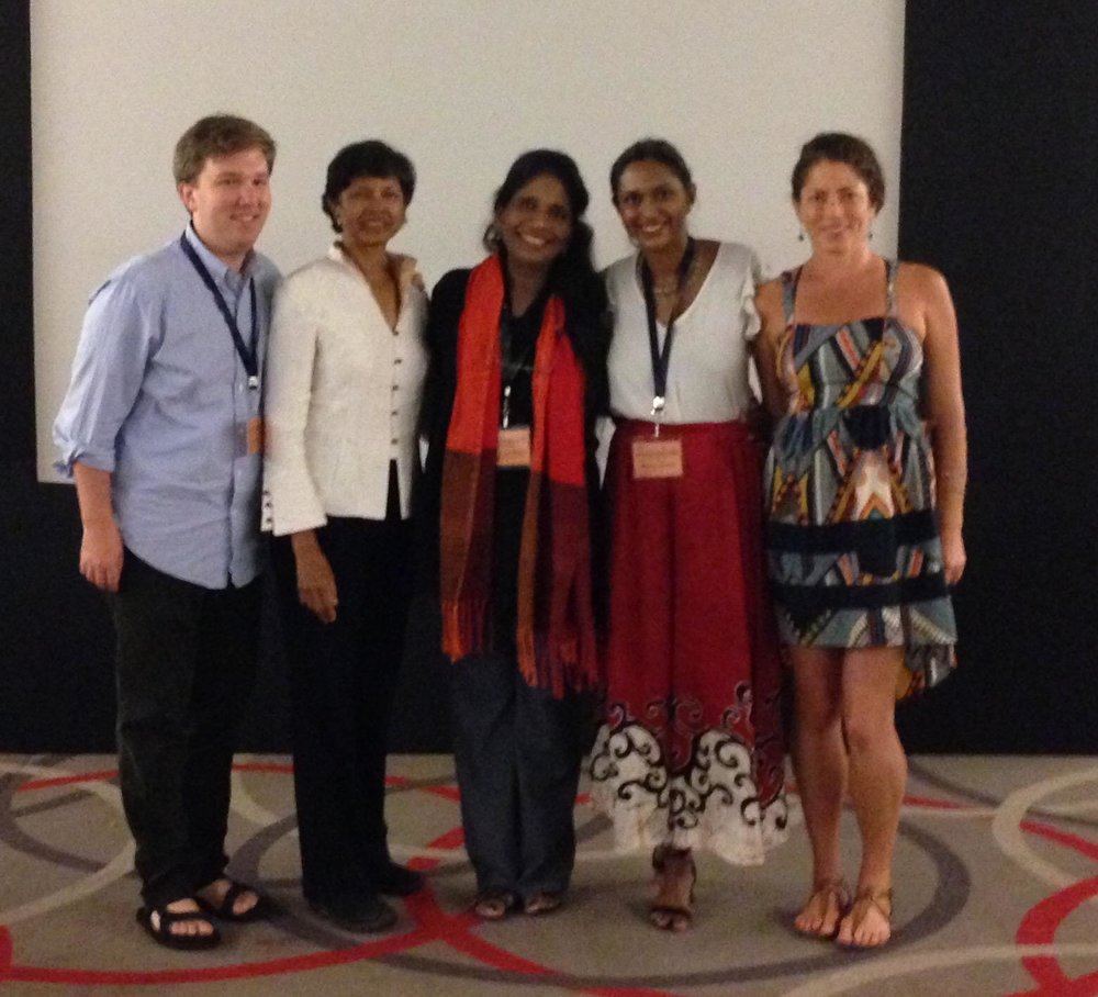 Most of the US-SLFC contingent who attended the conference in Kochi (from L to R: Chase LaDue, Prema Arasu, Sandarshi Gunawardena, Meghana Nallajerla, and Katie Conlon). Missing from this photo are Dave and Dixie Damrel, who are also  blogging  about their Fulbright experience during their time in Kandy.