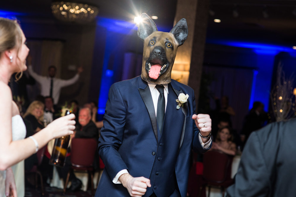 Philadelphia eagles underdog mask at the wedding