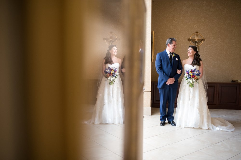 Bride with her dad before walking down the aisle