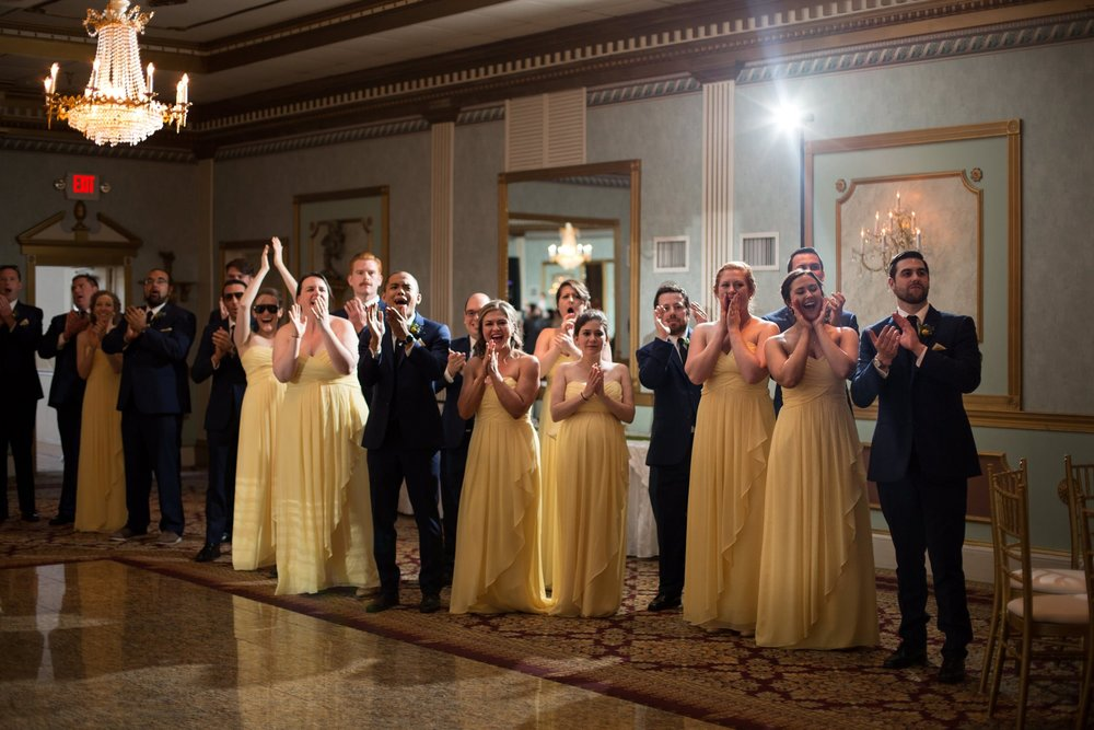 Yellow palette bridal party photos at Mendenhall Inn in Media