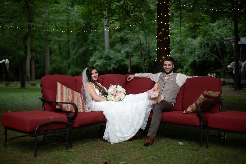 red couch and wedding dress