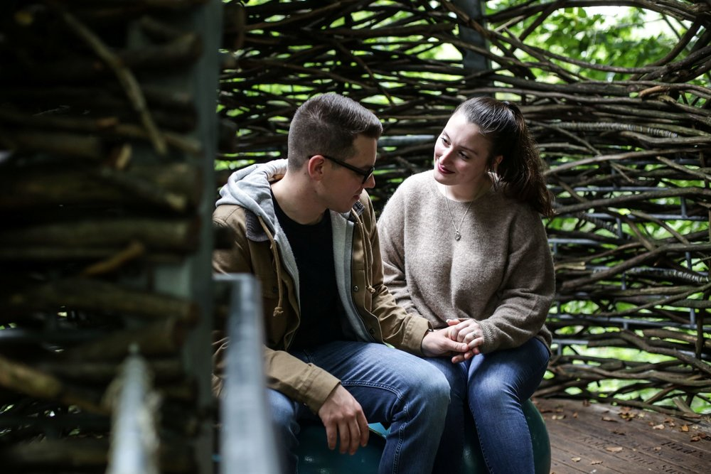 engaged couple in morris arboretum