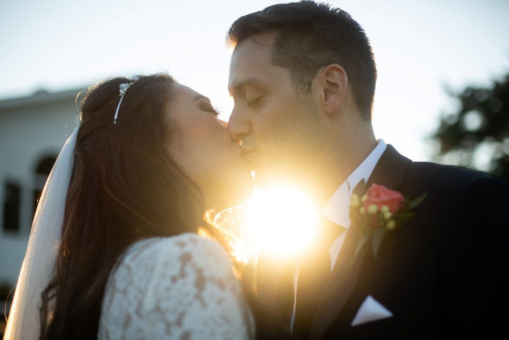 sunset romantic wedding photo