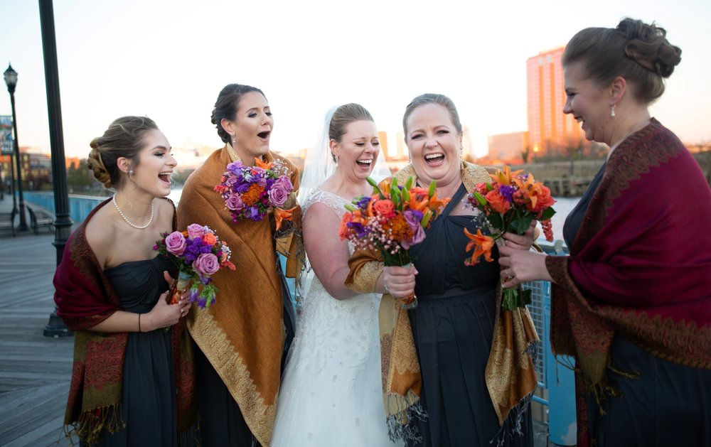 bride and bridesmaids wedding photos