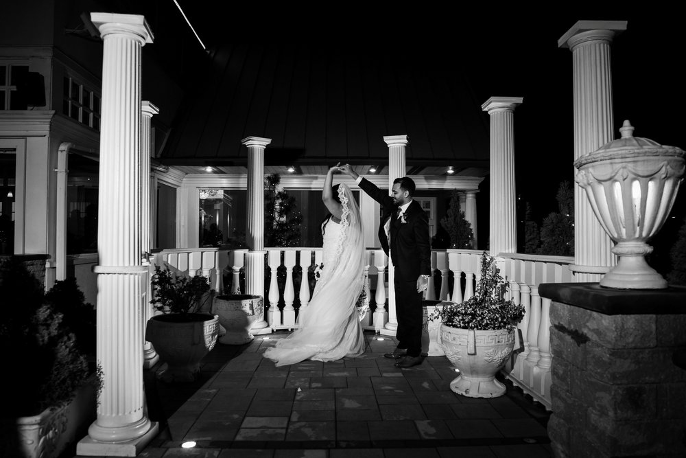 Black and white romantic photos of bride and groom
