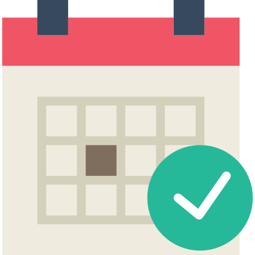 icon of calendar with large green check mark representing setting your own hours