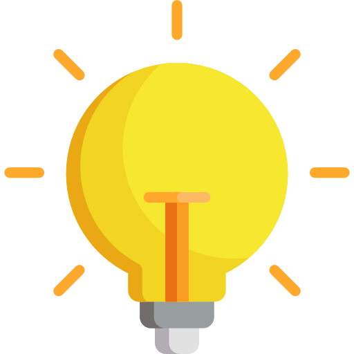 icon of an idea lightbulb representing the potential of making an impact as a neon support agent