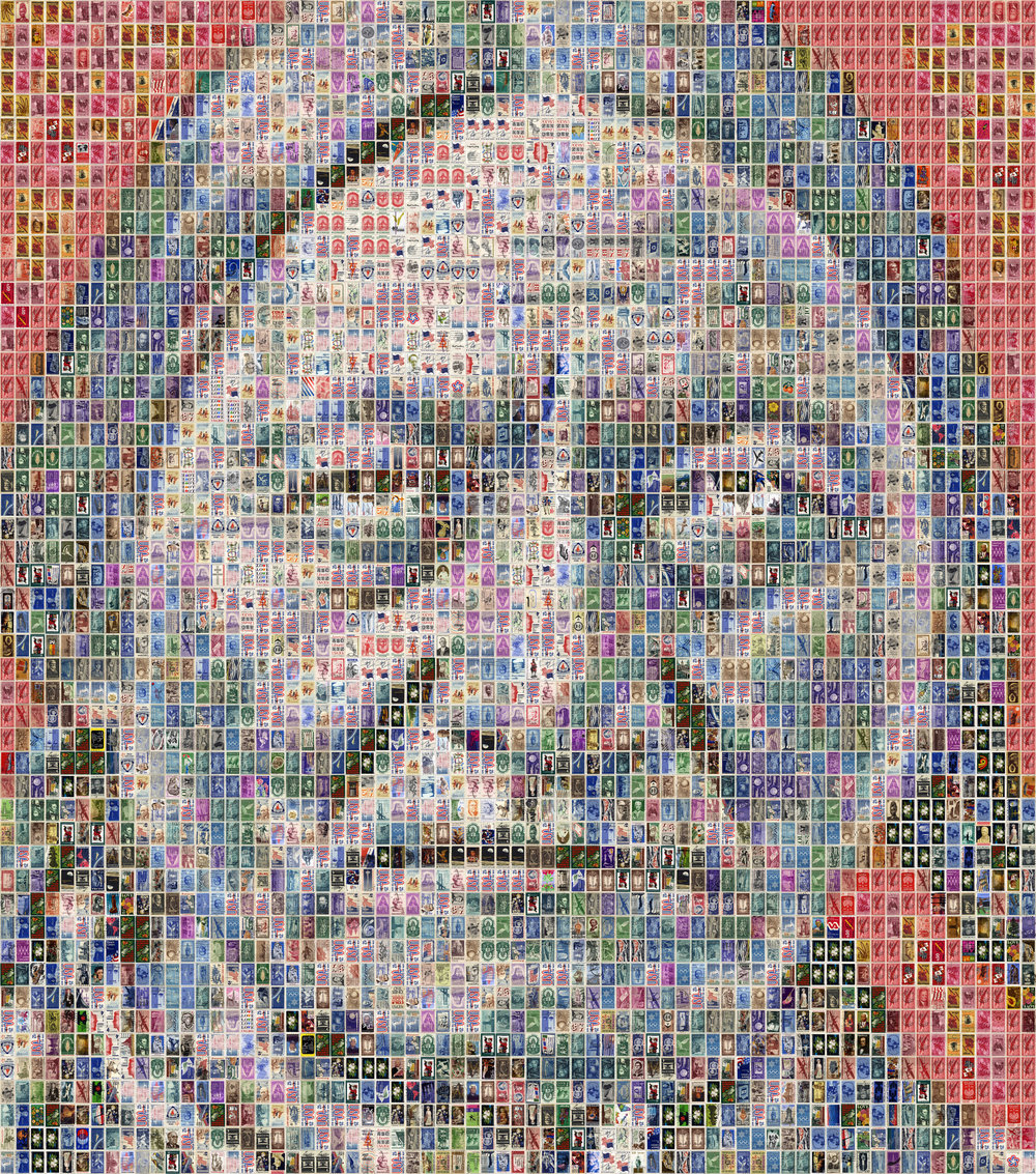 Sitting Bull, 2017   3450 american postage stamps on Alu-Dibond Unique 86.6x78.7in / 220x200cm