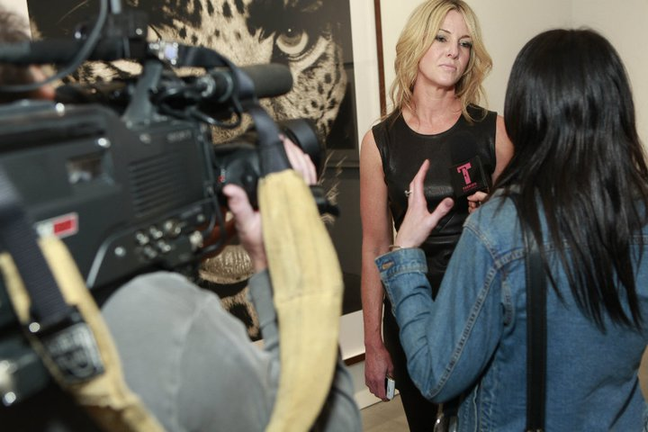 SARAH HASTED BEING INTERVIEWED BY FASHION TV