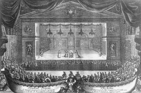 The malade Imaginaire  presented in 1664 in the Versailles garden.