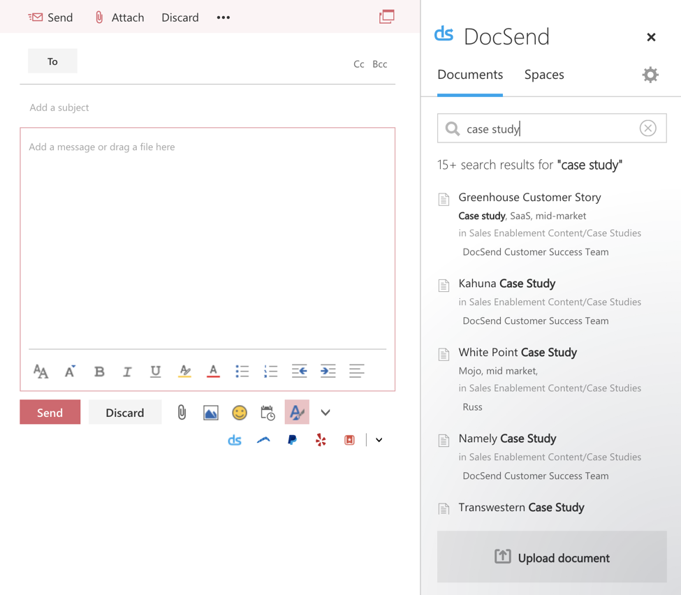 DocSend Microsoft Office add-in