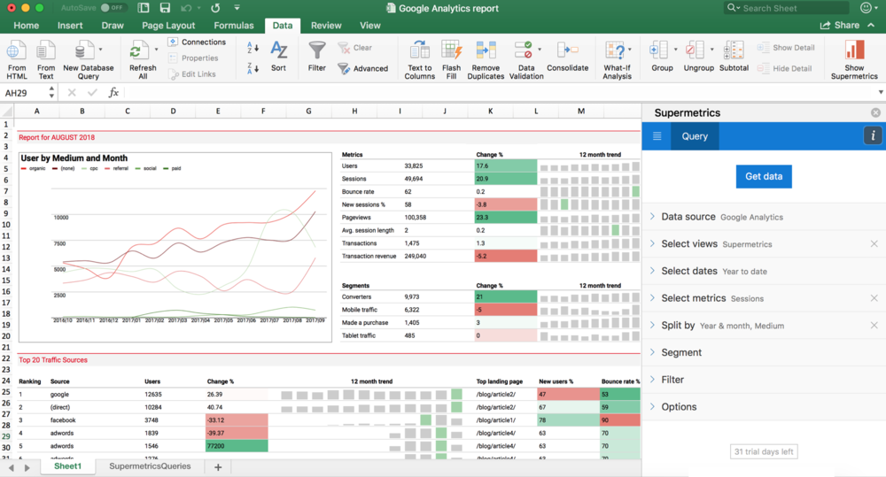 Supermetrics for Excel