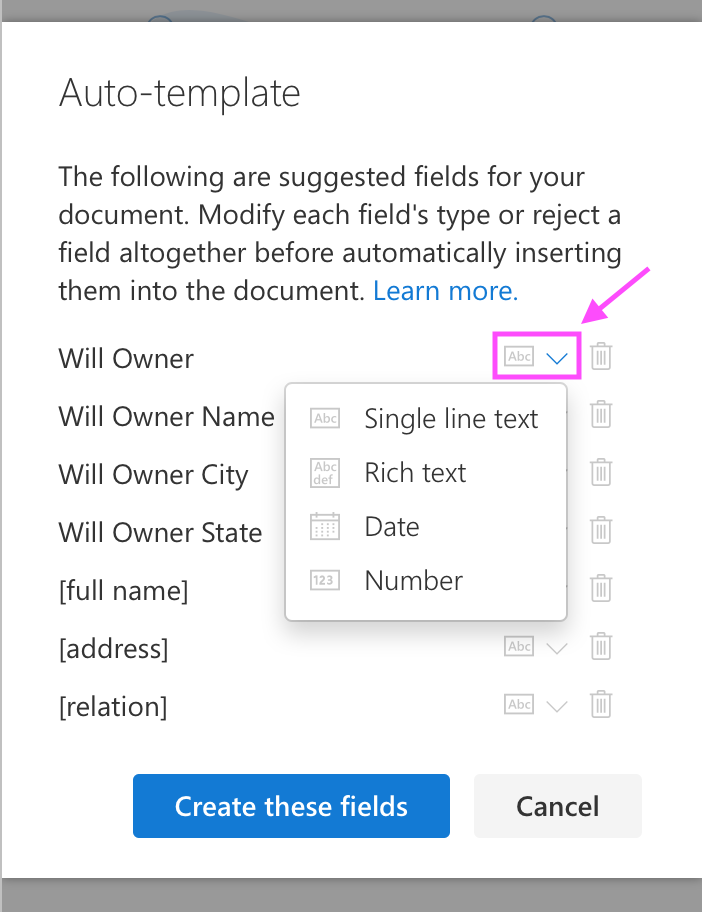 auto-template change field type
