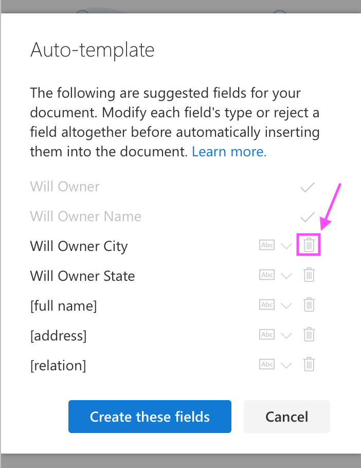 auto-template reject field suggestion
