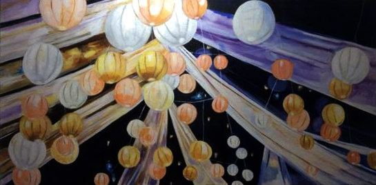 Celebration, 12x24; commissioned as a wedding gift from couple's wedding reception
