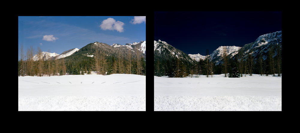 Digital print 24x78 in  … hourly by sunlight and moonlight at Snoqualmie Pass, WA, 8:23am-4:23pm; 6:15pm-4:15am, February 11-12, 2006.   Left:  my shadow by sunlight.  Right:  my shadow by moonlight.