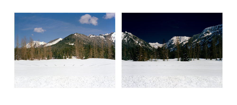 Another Ligh t, 2006  Digital print 24x78 in  Hourly by sunlight and moonlight at Snoqualmie Pass, WA, 8:23am-4:23pm; 6:15pm-4:15am, February 11-12, 2006.  Left: my shadow by sunlight. Right: my shadow by moonlight.