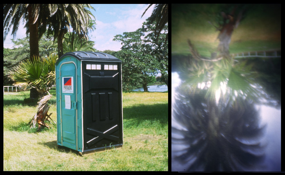 Giovanni Della Portaloo , 1995  Portable toilet, glass, sailcloth   A walk-in camera obscura pays homage to Giovanni Battista Della Porta, a 16th c  Italian who was the first to write extensively about the camera obscura effect. Artful Park II,  Centennial Park, Sydney, Australia.