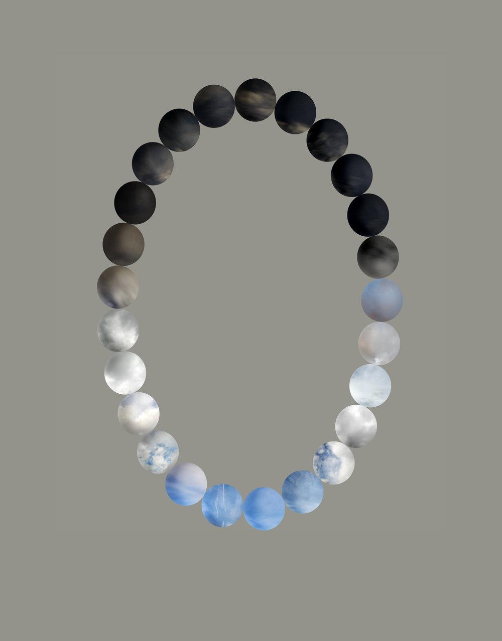 Sky Pearls: Hourly, October 18, Seattle, 2009  Digital mock-up