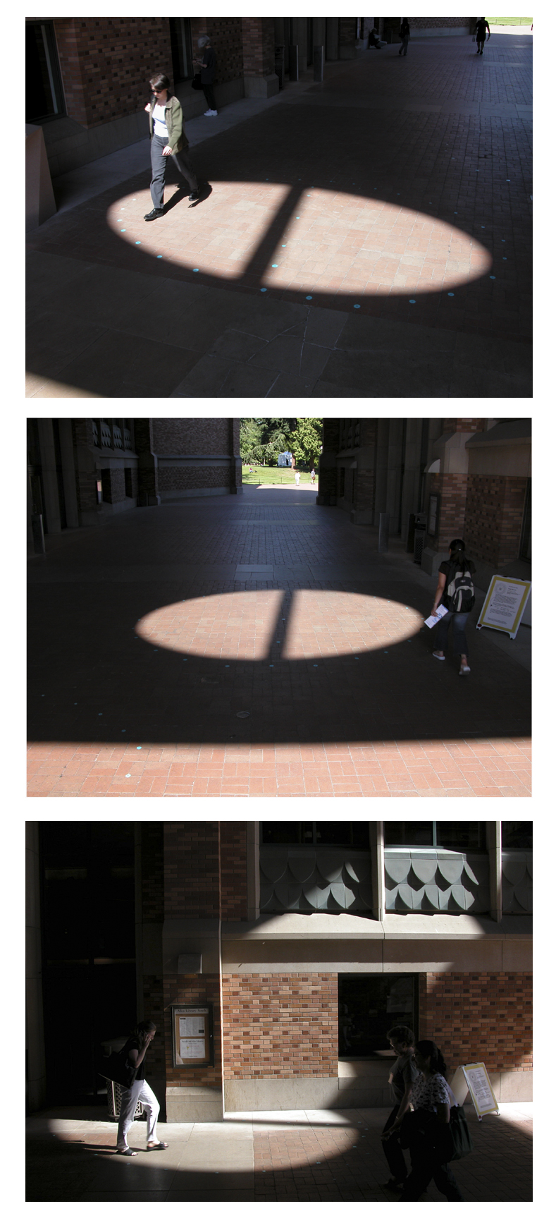 (with Woody Sullivan)   Metal, paint    In winter, the spotlight appears high above.   The projection of light through a huge circular SW facing window between Allen and Suzzallo Libraries was utilized to tell solar time. 4 ellipses (2 of which were partially on the library walls) were marked to indicate the path of the sunspot on the summer solstice (June 21, 2:10-4:30 Pacific Daylight Time).    In the winter, the sunspot appears high above. Inspired by the aperture sundials created by 17th century astronomers in European cathedrals. Temporary installation for Spheres, the 2003 University of Washington Summer ARTS Festival.