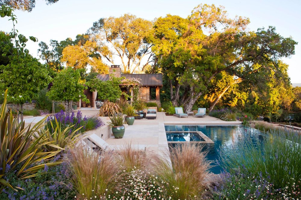 An overview of the landscape with bright flowers, oaks and a pool.