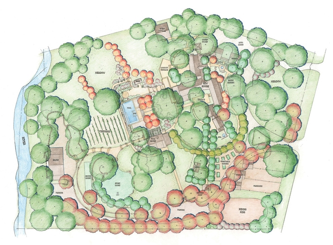 The hand-colored master plan shows the pool, horse stable, barn and meadows.