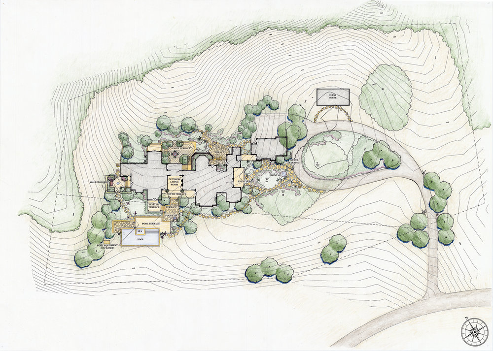 The hand-colored master plan shows the layout of the landscape.