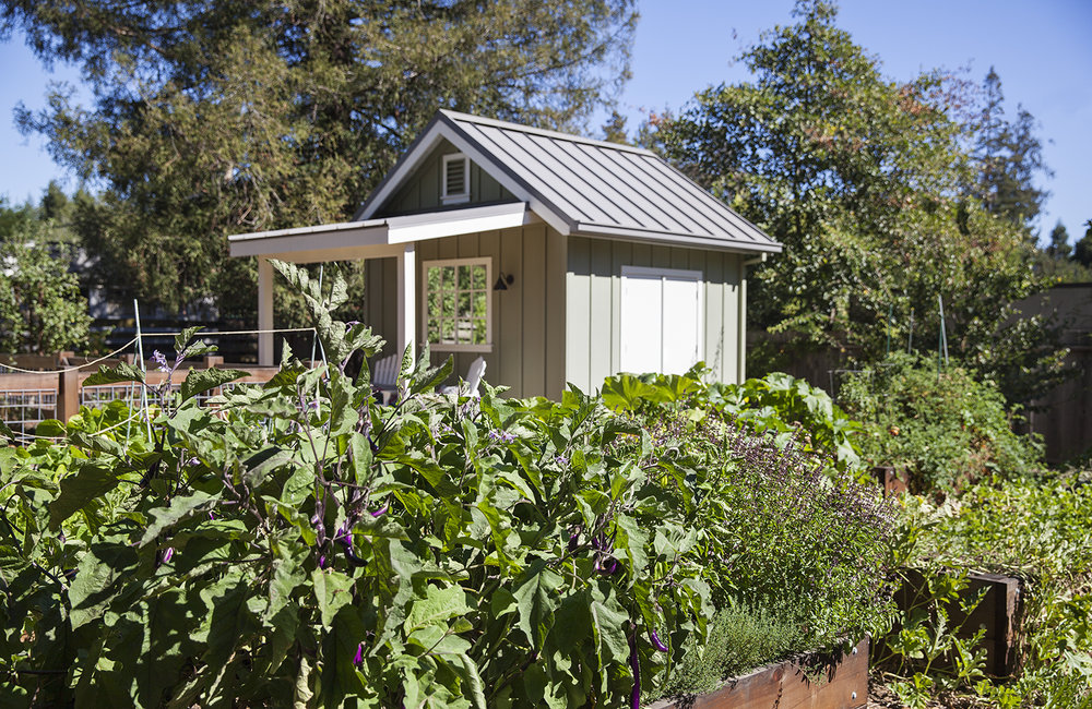 The chicken coup matches the architecture of the home, with its own small porch. A bed in the production garden is currently filled with eggplant.