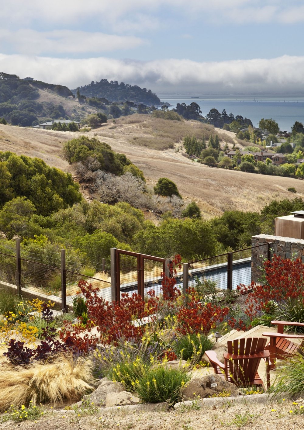 The seating area overlooks the San Francisco Bay.
