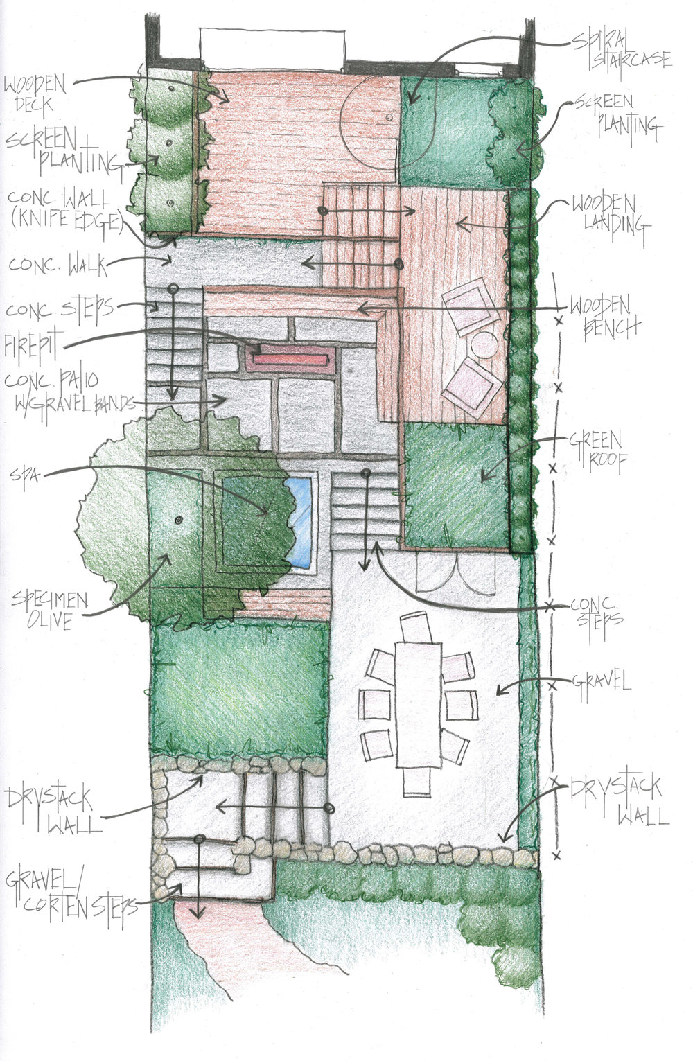 A hand-drawn conceptual plan shows an overview of the landscape.
