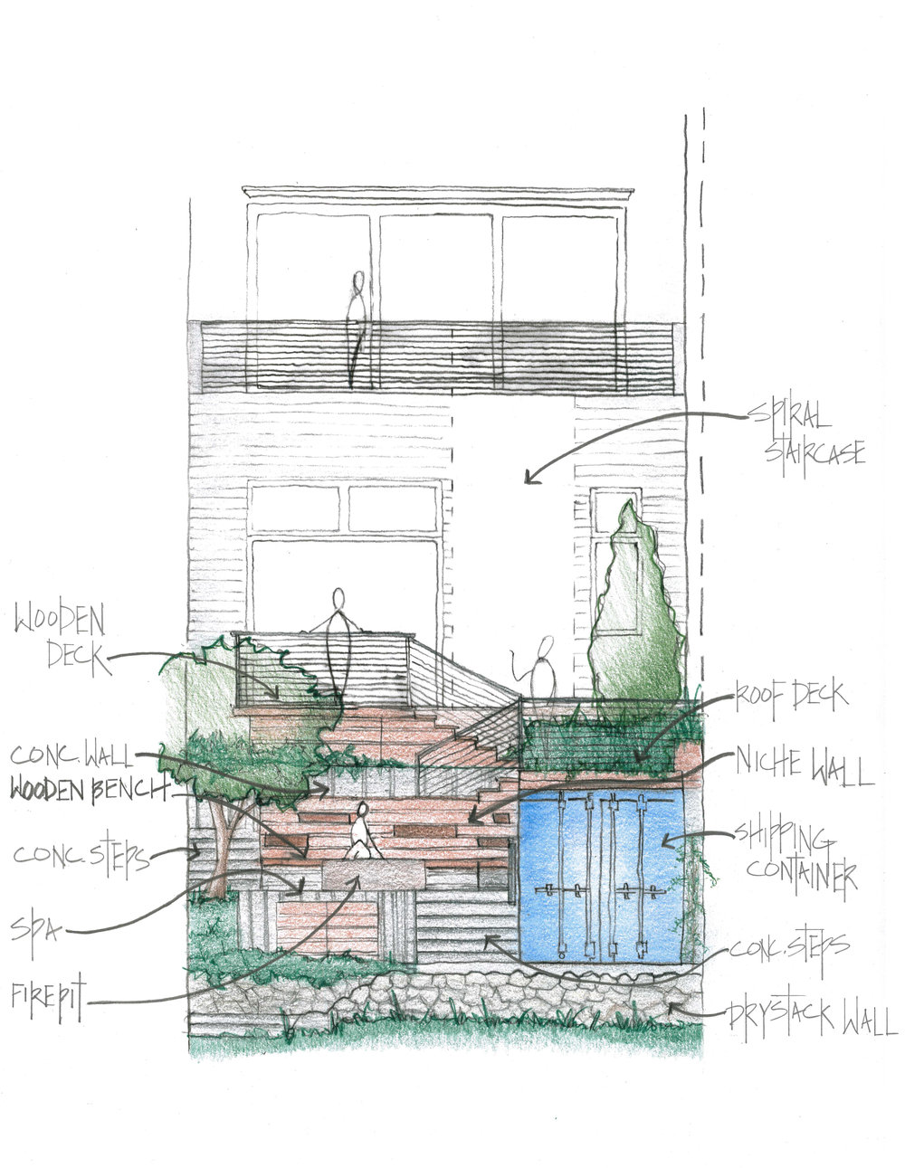A hand drawn conceptual elevation shows the plan for the decks and how the vertical spaces will interact.