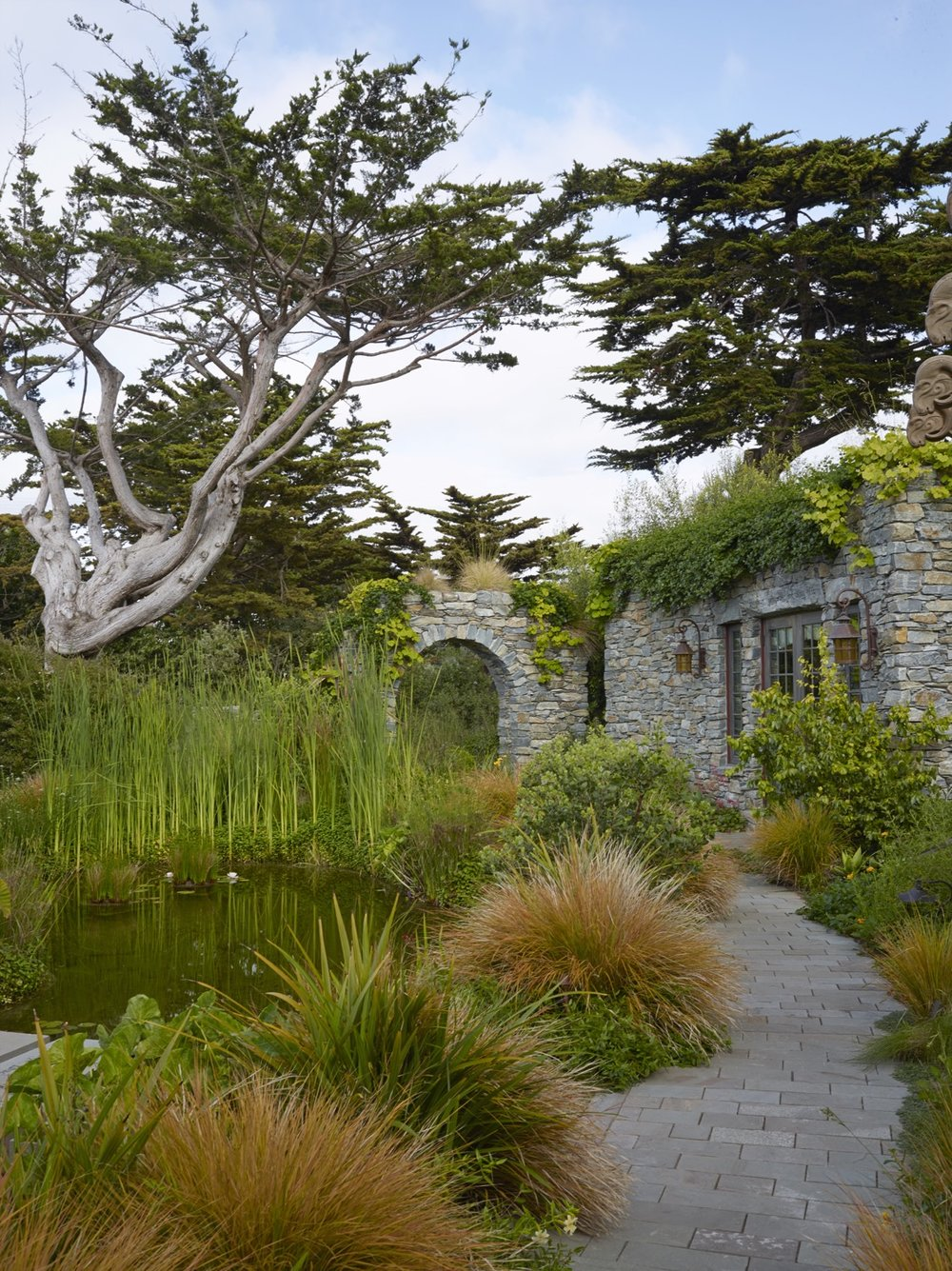 The constructed pond and the planted top of a stone arch are habitat.
