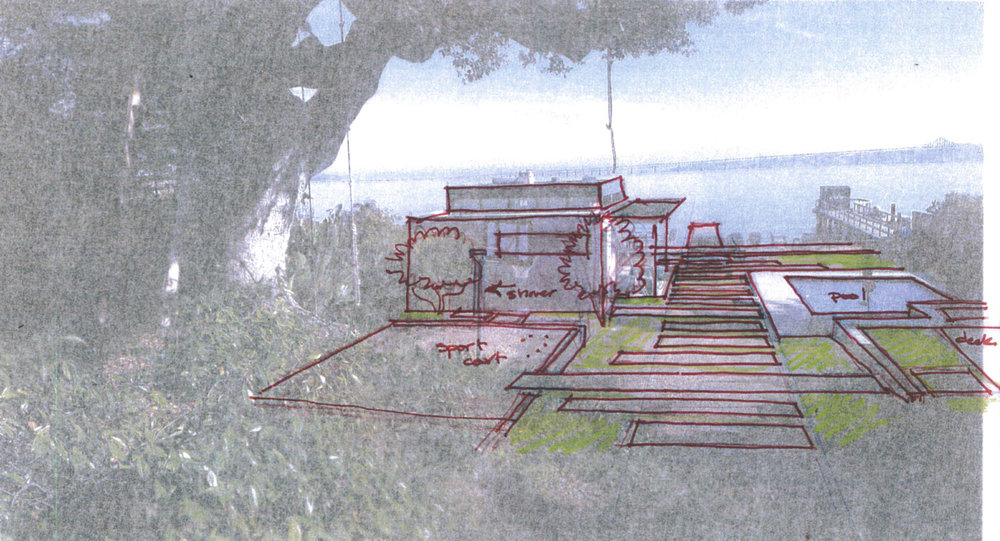 A sketch overlaying a snapshot of the site