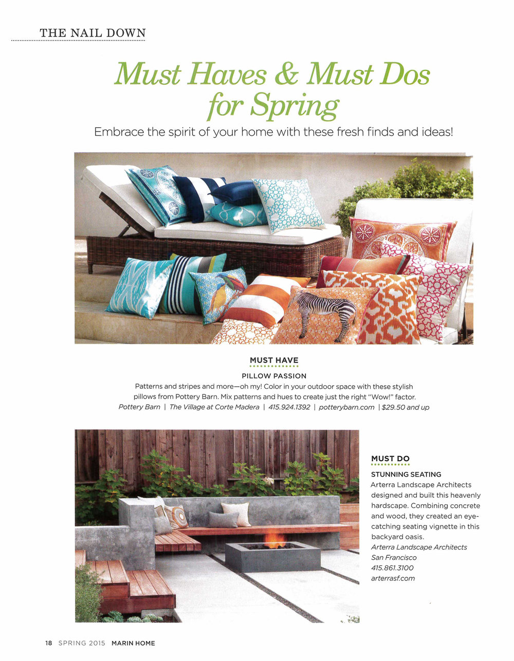 Marin Home Magazine features the concrete and wood bench from The Gathering Table.