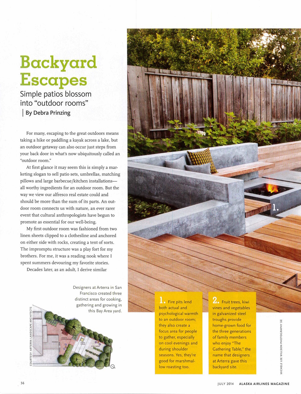 This article in Alaska Airline Magazine features the Gathering Table, a project with a garden for three generations and a gathering place around a concrete firepit.