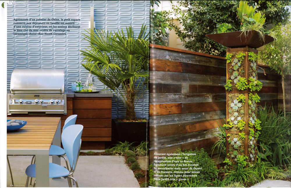 Two spreads from Exterieurs magazine feature The Sunset Idea House, including the outdoor kitchen, blue tiled wall and vertical planting tower, with text in French.