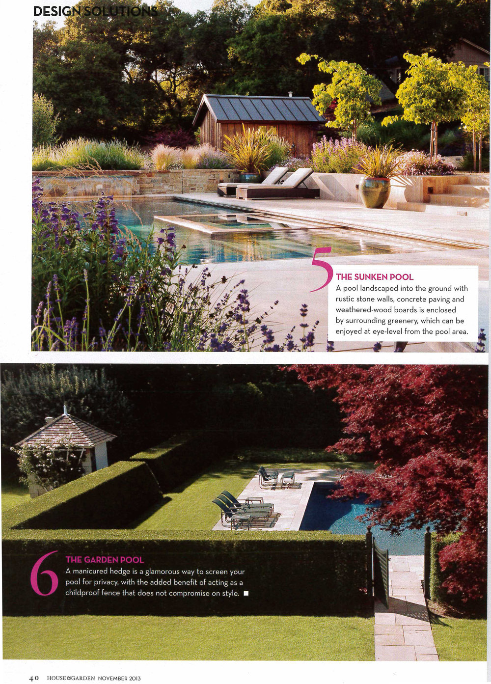 The pool at Whiskey Hill is featured in South Africa's House & Garden