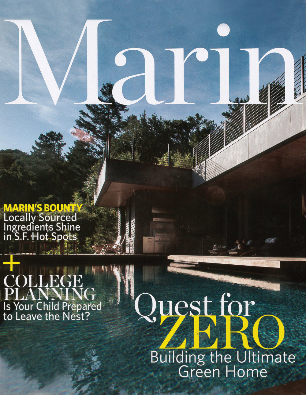The Quest for Zero is featured on the cover or Marin Magazine.