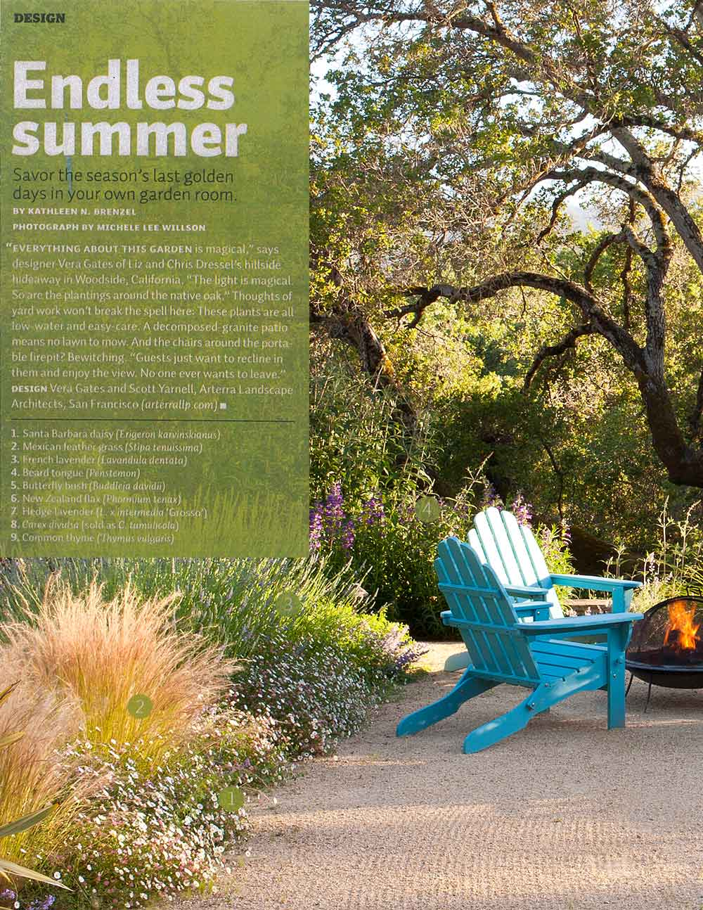 The firepit seating area, and its surrounding low-water plantings, at Whiskey Hill is featured in Sunset Magazine.
