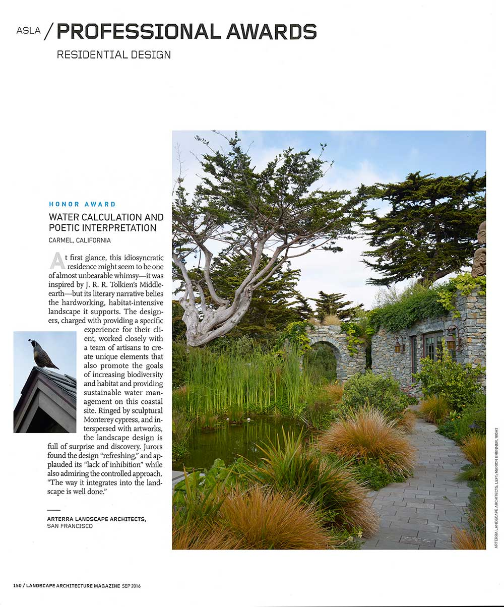 A spread in Landscape Architecture Magazine features our winning project, Water Calculation and Poetic Interpretation.