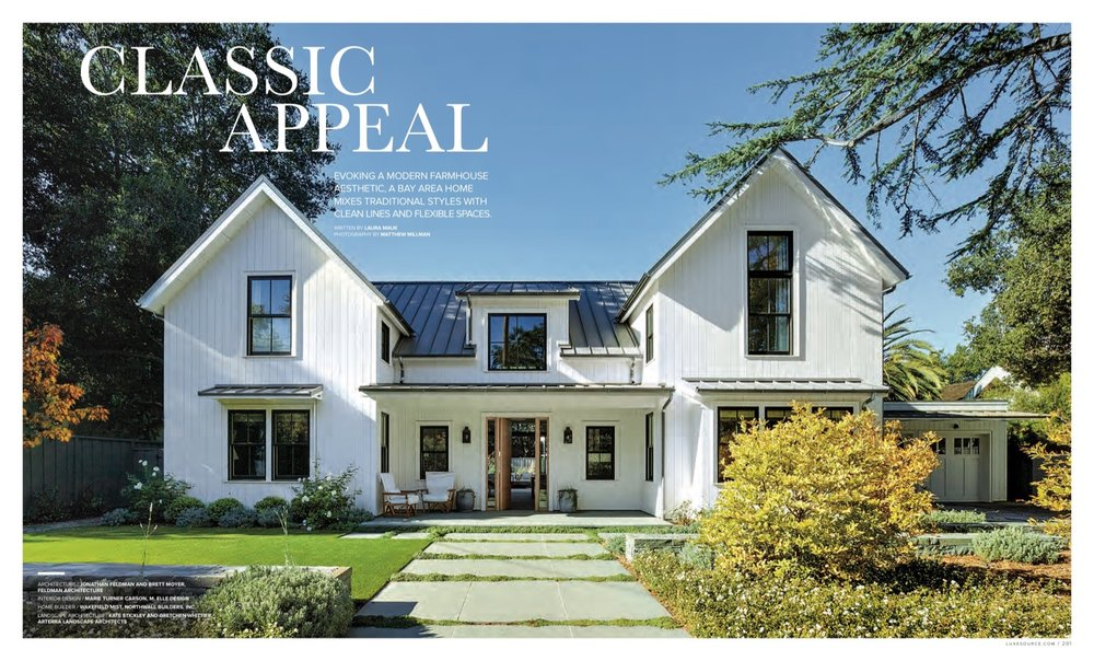 A path softened with planted pavers leads up to a modern farmhouse style home, in Luxe Magazine.