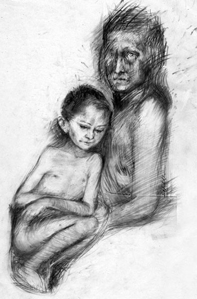 Study For Holocaust Memorial #2  - 18 x 24 in charcoal