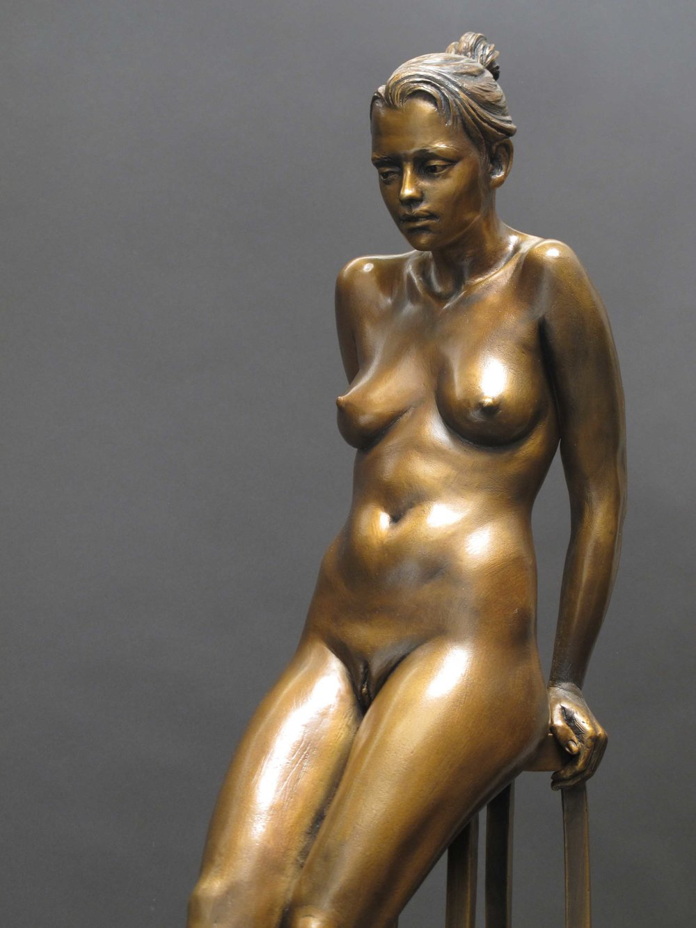 Await  - 18 X 13 X 5 in cast bronze