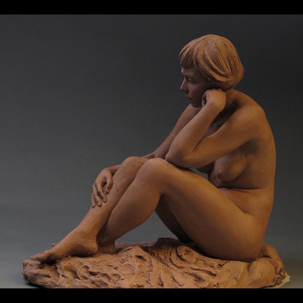 Meditation  - 14 X 13 X 9 in terracotta