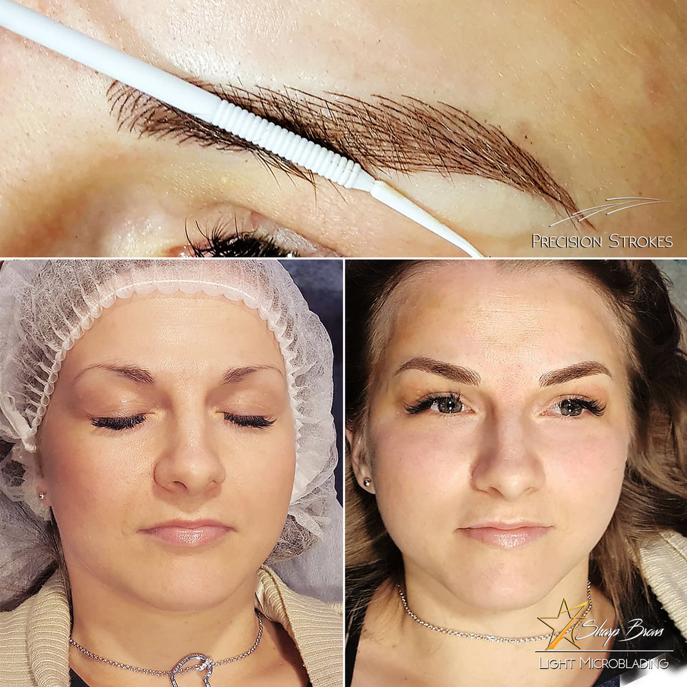 Precision Strokes. A fine example of how brows made with Light Microblading and in Precision Strokes technique. The overall facial expression changes totally. In the upper picture you can see a close-up of the same brows.