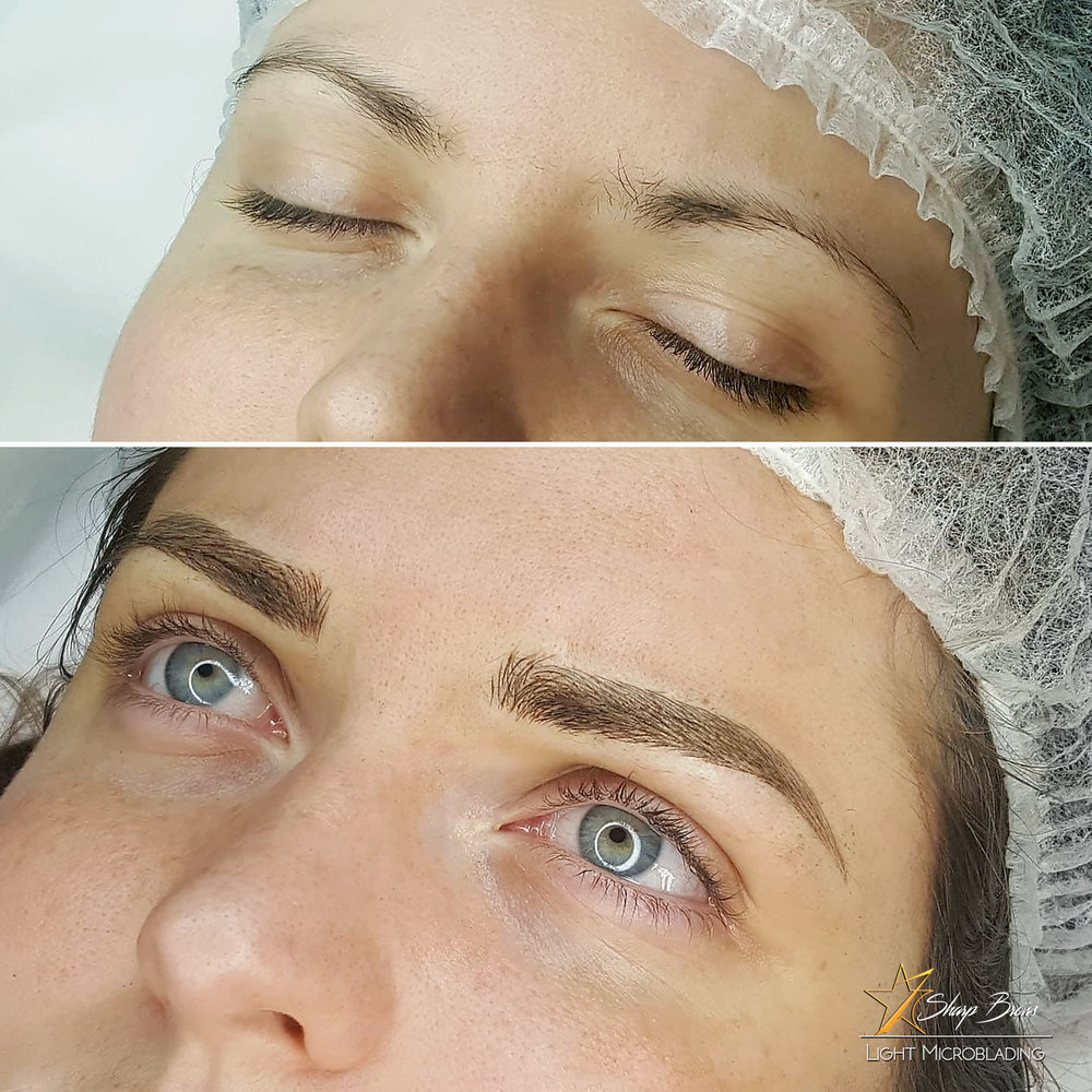 Light microblading enables to make weak brows considerably thicker whilst maintaining natural look.