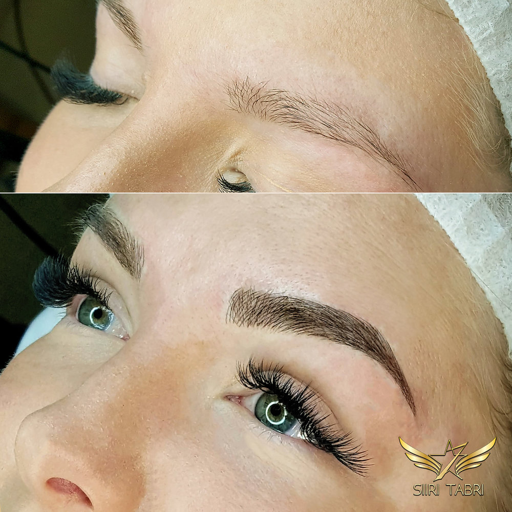 SharpBrows Light microblading. Initial brow hair looked really thin and we had to fill in the brow a lot with some light microblading.